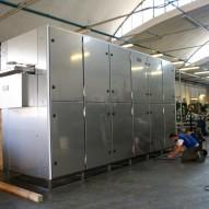 Imballo in termoretraibile di un macchinario fuori sagoma in altezza per la produzione della pasta e containerizzazione su open Top da 40'.